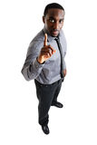 Geschäftsmann mit einem Finger oben Stockfotografie