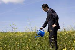 Geschäftsmann mit einem Flowerpot stockbild