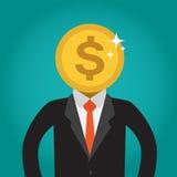 Geschäftsmann mit einem Münzenkopf (Dollar) Stockfoto