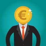 Geschäftsmann mit einem Münzenkopf (Euro) Stockfotos