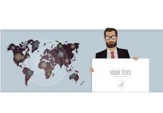 Geschäftsmann mit einem Plakat und einer Karte der Welt Vektorillustration für Website Stockfotos