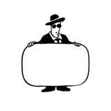 Geschäftsmann mit einem Zeichen Stockfoto