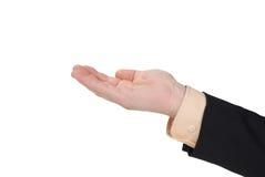 Geschäftsmann mit einer geöffneten Hand Stockfoto
