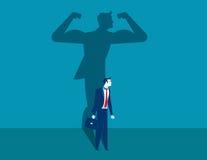 Geschäftsmann mit einer Schatten- und Karrierestärke Stockbilder