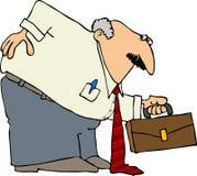 Geschäftsmann mit einer Schlecht-Rückseite lizenzfreie abbildung