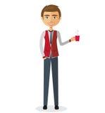 Geschäftsmann mit einer Tasse Tee und der Teekanne flachen Karikaturkranken Stockfotografie