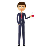 Geschäftsmann mit einer Tasse Tee und der Teekanne flachen Karikaturkranken Lizenzfreie Stockbilder