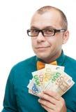Geschäftsmann mit Eurogeld Stockfoto