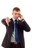 Geschäftsmann mit falschen Nachrichten Lizenzfreie Stockfotos