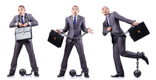 Geschäftsmann mit Fesseln auf Weiß Lizenzfreie Stockfotografie