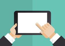 Geschäftsmann mit flacher Illustration des Tablet-Computers lizenzfreie abbildung
