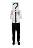 Geschäftsmann mit Fragezeichen Lizenzfreies Stockfoto