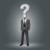 Geschäftsmann mit Fragezeichen-Kopf Stockfotos