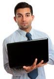 Geschäftsmann mit geöffnetem Laptop lizenzfreies stockfoto