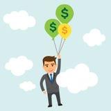 Geschäftsmann mit Geldballonen im Himmel Stockfotos