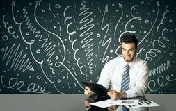 Geschäftsmann mit gelockten Linien und Pfeilen Stockbilder