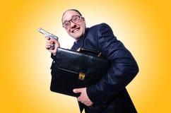 Geschäftsmann mit Gewehr Stockfotos