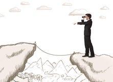 Geschäftsmann mit gezogenem Rand des Berges Stockfotografie