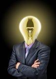 Geschäftsmann mit glühendem Fühler anstelle des Kopfes Lizenzfreie Stockfotografie