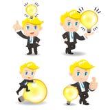 Geschäftsmann mit Glühlampe lizenzfreie abbildung