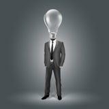 Geschäftsmann mit Glühlampe-Kopf vektor abbildung
