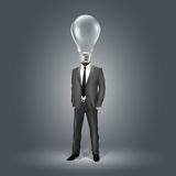 Geschäftsmann mit Glühlampe-Kopf Stockbild