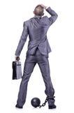 Geschäftsmann mit Handschellen gefesselt Stockfotos
