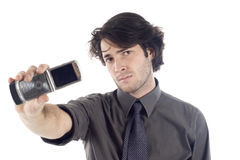Geschäftsmann mit Handy Stockfotografie