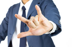 Geschäftsmann mit ich liebe dich Zeichen-Handzeichen lokalisiert auf Weiß Stockbild