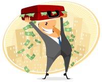 Geschäftsmann mit Kasten des Geldes Lizenzfreie Stockbilder