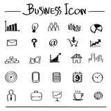 Geschäftsmann mit Kopfschmerzen gegen Hand gezeichnete Geschäftsikonen Stockbilder
