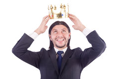 Geschäftsmann mit Krone Lizenzfreie Stockfotografie