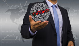 Geschäftsmann mit Kundenstrategie Stockfoto