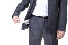 Geschäftsmann mit leeren Taschen Getrennt Lizenzfreie Stockbilder