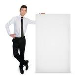 Geschäftsmann mit leerer Fahne Lizenzfreie Stockbilder