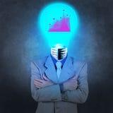 Geschäftsmann mit Leuchtenkopf Stockfotos