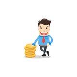 Geschäftsmann mit Münzen Lizenzfreie Stockfotos