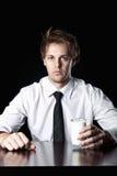 Geschäftsmann mit Milch stockfotos