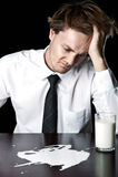 Geschäftsmann mit Milch stockfoto