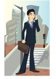 Geschäftsmann mit Mobile lizenzfreie abbildung