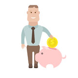 Geschäftsmann mit moneybox Lizenzfreies Stockbild