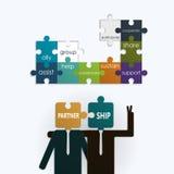 Geschäftsmann mit Partnerschaftstext auf Puzzlespiellaubsäge Lizenzfreies Stockfoto