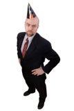 Geschäftsmann mit Partyhut Stockbild