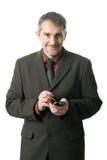 Geschäftsmann mit pda stockfoto