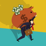 Geschäftsmann mit Piggy Querneigung Lizenzfreies Stockfoto