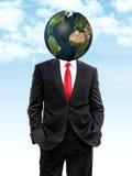Geschäftsmann mit Planetenerde anstelle des Kopfes Stockfotografie