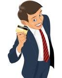 Geschäftsmann mit Plastikkarte Lizenzfreie Stockfotos