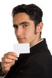 Geschäftsmann mit Plastikkarte. Stockfotografie