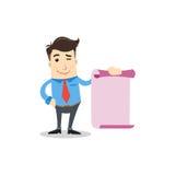 Geschäftsmann mit purpurrotem Papier Lizenzfreie Stockfotografie