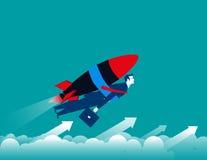 Geschäftsmann mit Rakete und oben fliegen Lizenzfreie Stockfotos
